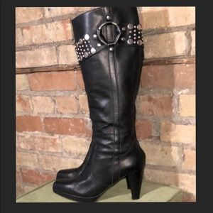 """FRYE """"Katie Tall"""" Black Leather Boots Sz 7.5"""